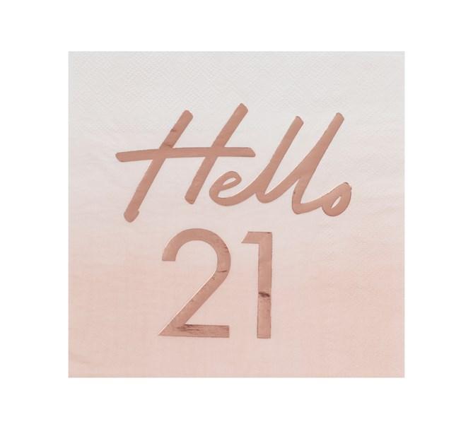Servett Hello 21 Rosa/Rosé, 16-pack