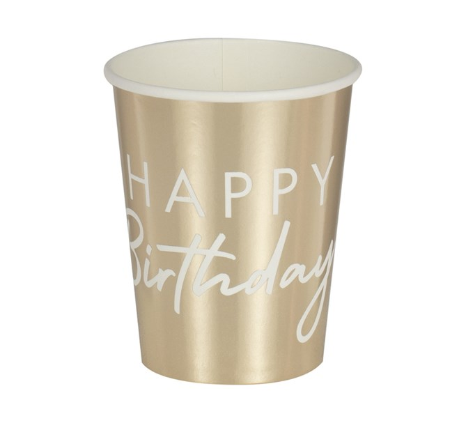 """Pappersmugg """"HAPPY Birthday"""" Guld, 8-pack"""