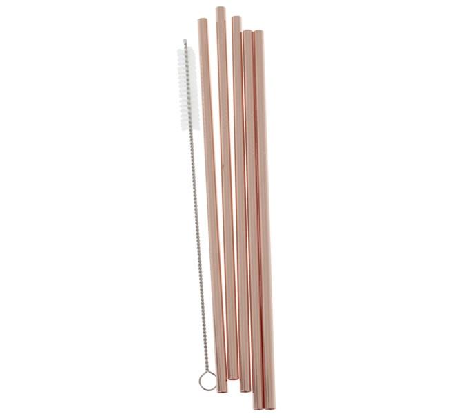 Sugrör Metall Återanvändningsbara Roséguld, 5-pack