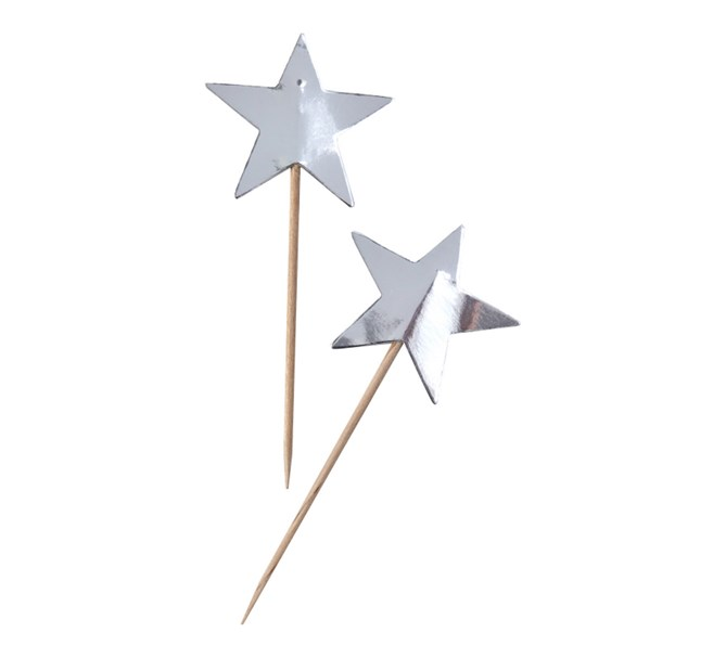 Cupcake Toppers Silver Star, 10st