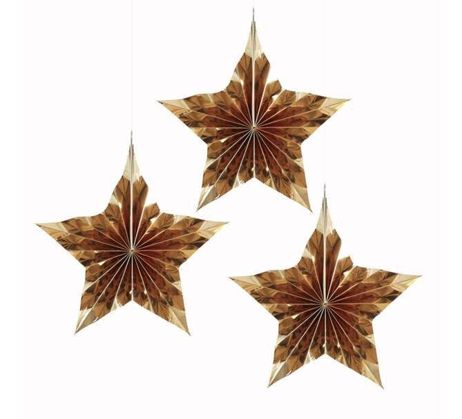 Dekorationsrosetter guldstjärna, 3st