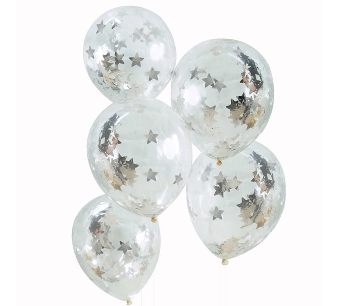 Konfetti ballong silver stjärnor, 5-pack