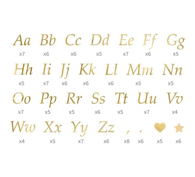 Klistermärken Bokstäver i guld, 171 st.