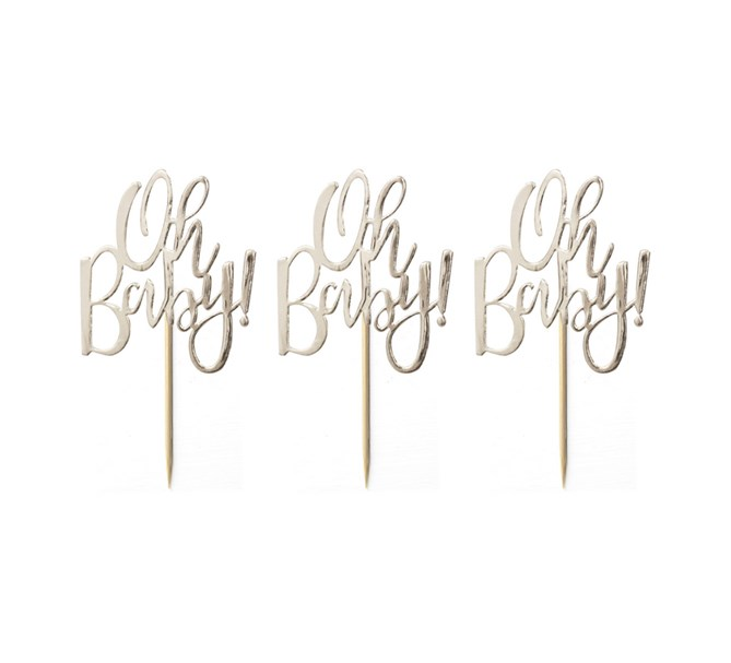 """Cupcake toppers """"Oh Baby"""", 12-pack"""