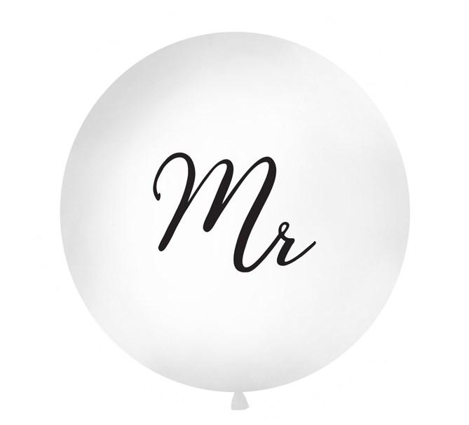 """Ballong """"Mr"""" svart text, 1 m."""