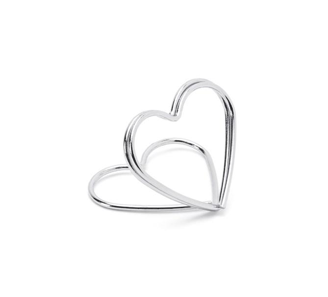 Korthållare hjärta Silver, 10-pack