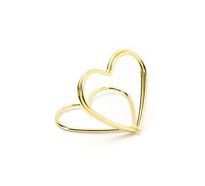Korthållare hjärta Guld, 10-pack