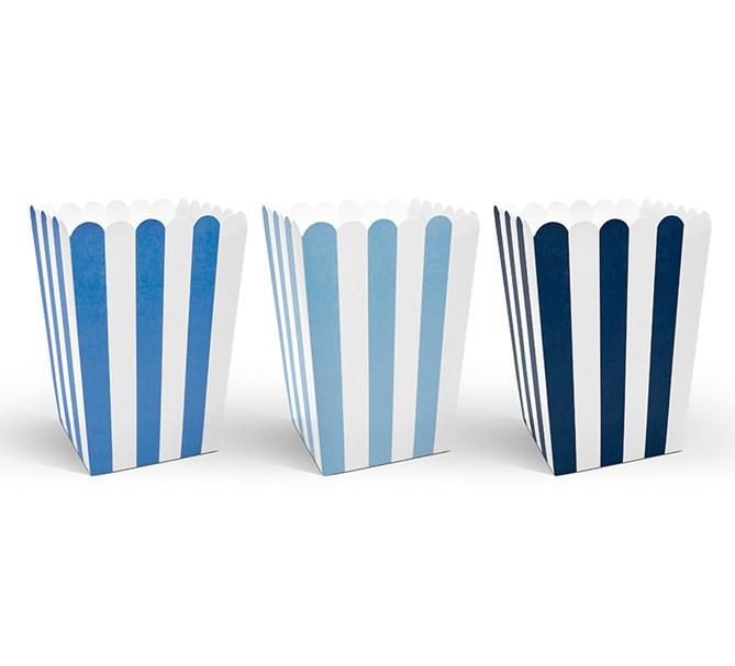 Popcornboxar blå/vit, 6-pack