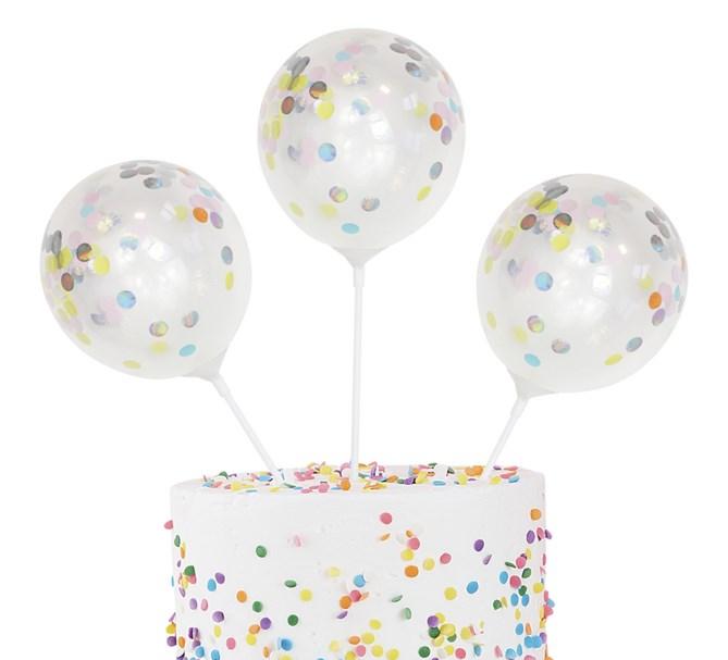 Tårtdekoration konfettiballonger pastell, 5-pack