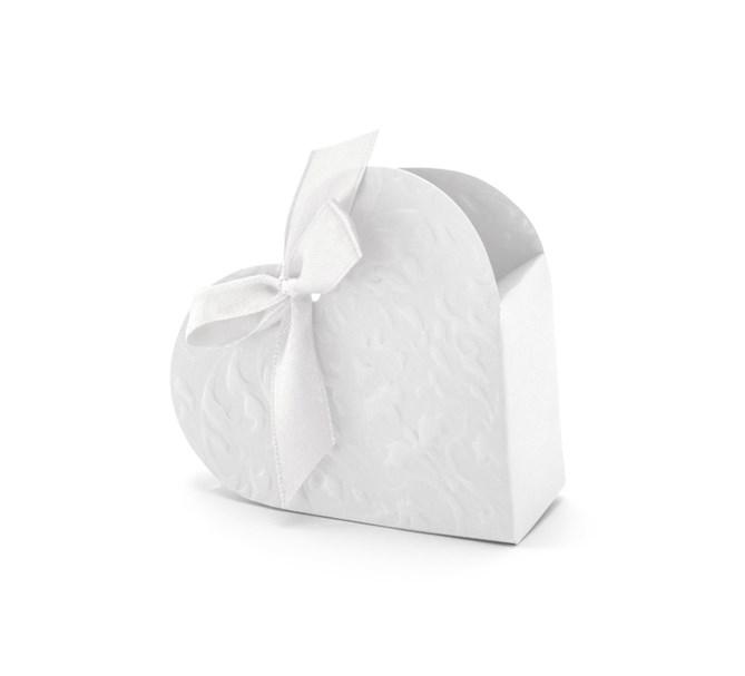 Presentask Vit Hjärta, 10-pack