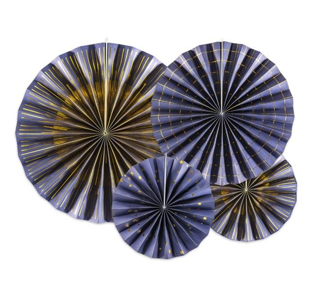 Dekorationsrosetter mörkblå/guld, 4-pack