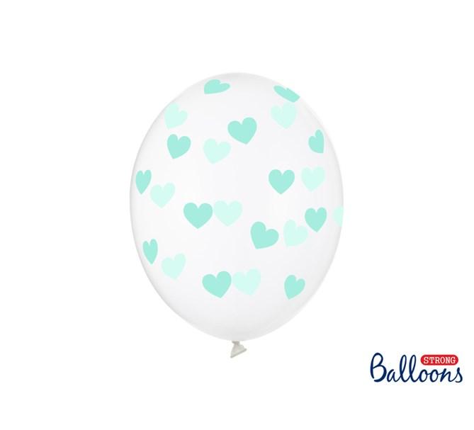 Ballonger Mintgrön hjärta, 6-pack