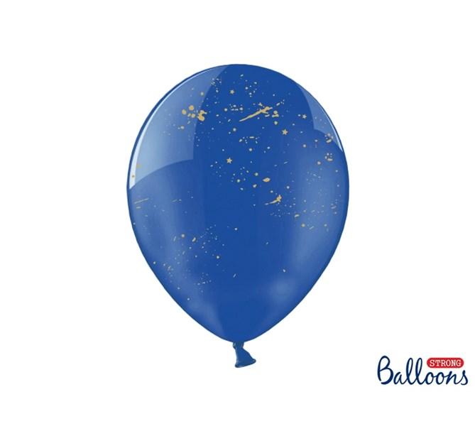 Ballong blå med guldstänk 6-pack