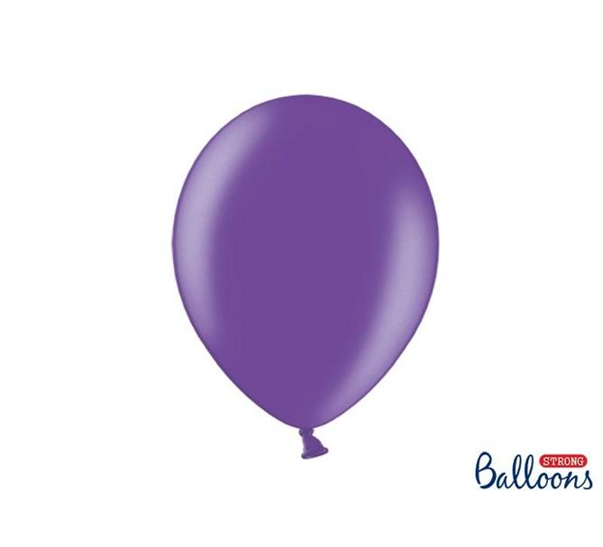 Ballonger Metallic Mörklila 30 cm, 10-pack