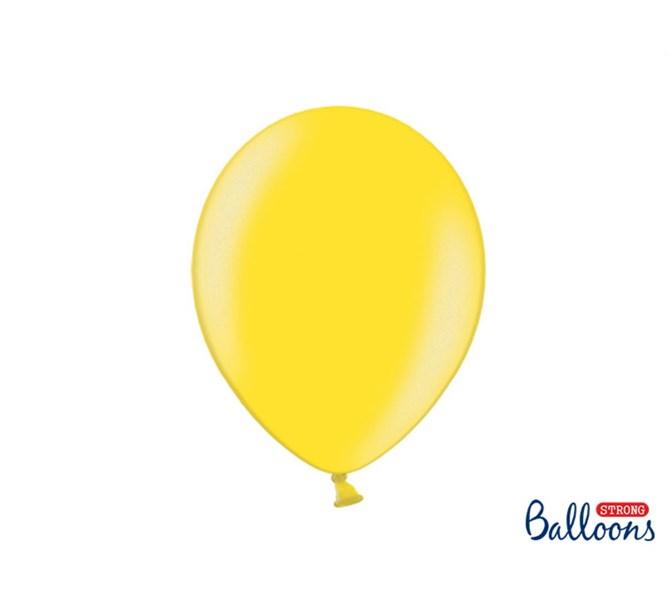 Ballonger Metallic Gul 35 cm, 10-pack