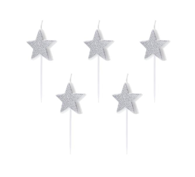 Tårtljus stjärna silver, 5-pack