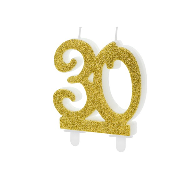 Tårtljus siffra 30 guld