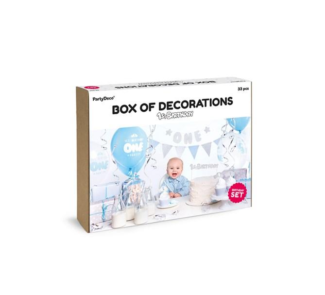 Partybox blå/silver 1år