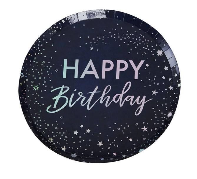 """Papperstallrikar """"Happy Birthday"""" blå och holigrafisk silver, 8-pack"""