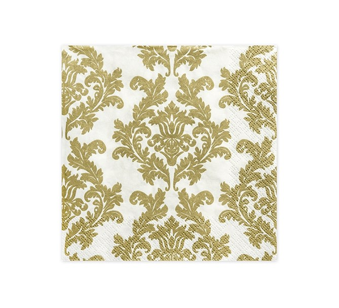 Servett med guld mönster, 20-pack