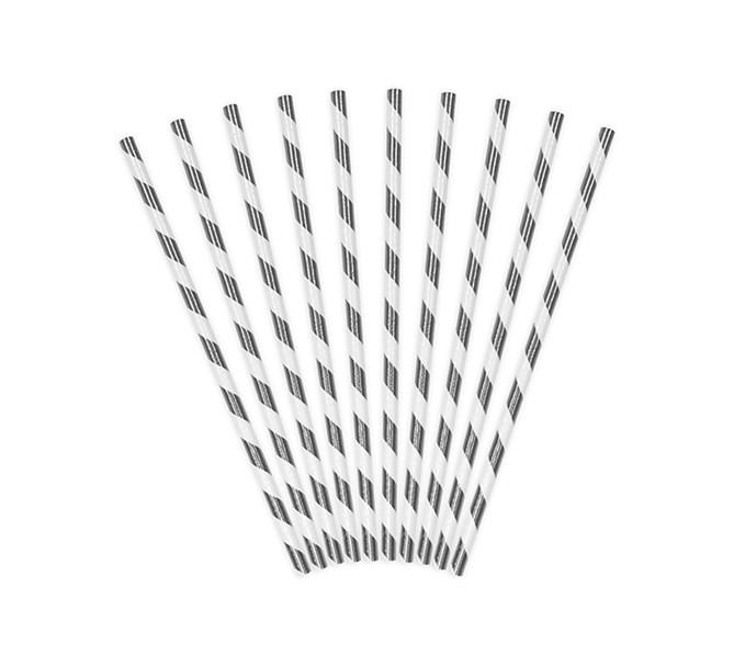 Sugrör metallic silver randig, 10-pack