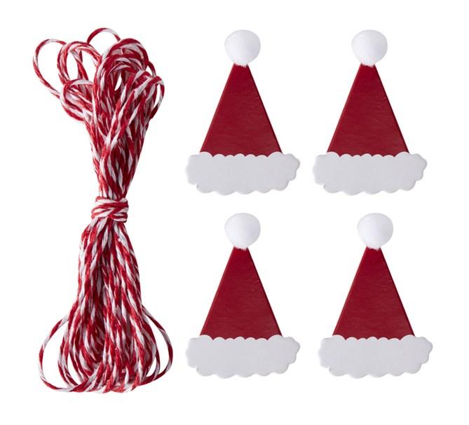 Julkortshållare girlang med tomteluvor