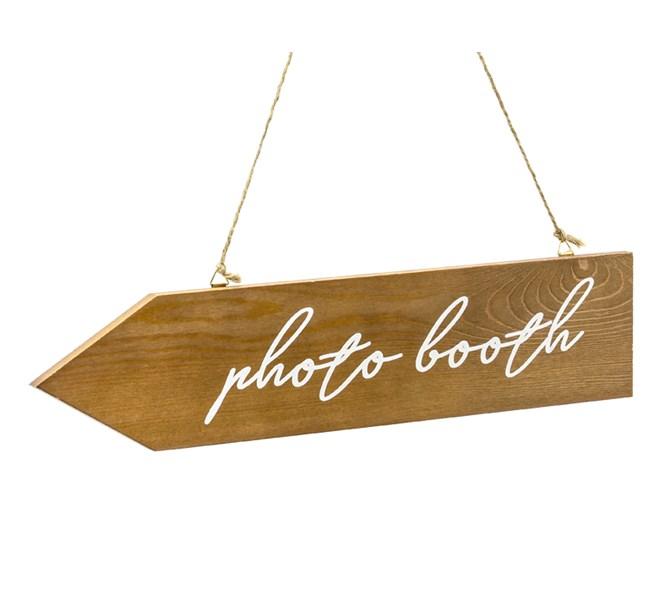 "Skylt i trä ""photo booth"", dubbelsidig"