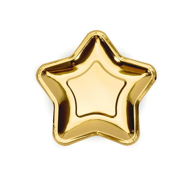 Assiett Stjärna Guld 18 cm, 6-pack