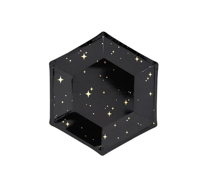 Engångstallrik Svart med guldstjärnor, 6-pack