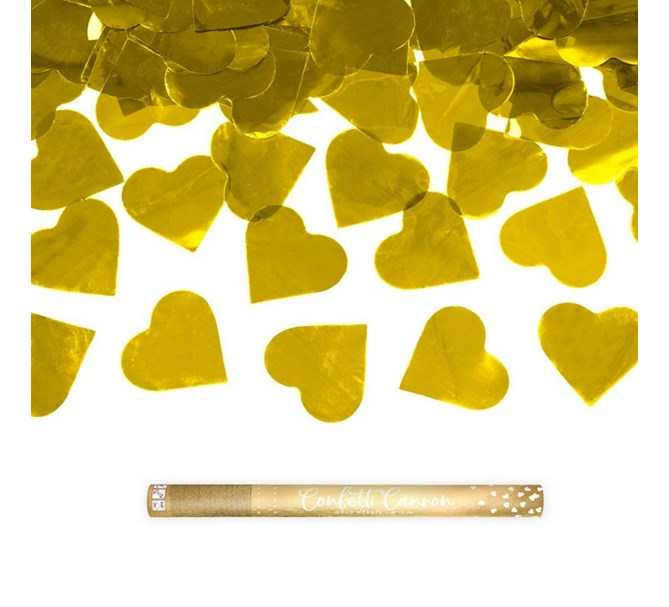 Konfettibomb 60 cm Hjärtan i guld