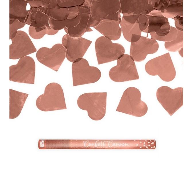 Konfettibomb 60 cm hjärtan i Roséguld