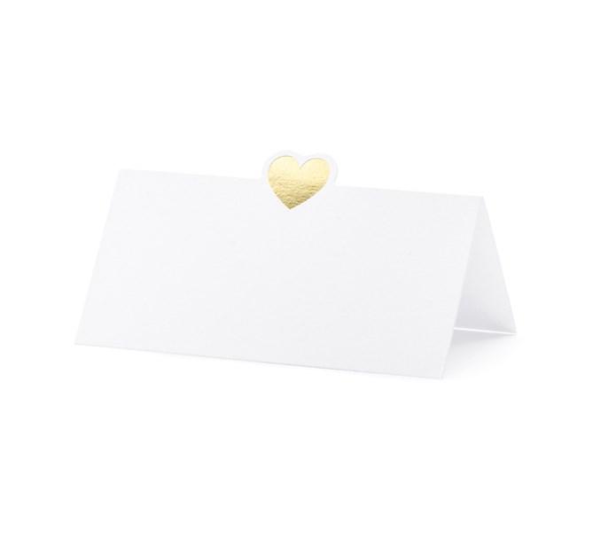 Placeringskort guldhjärta, 10st