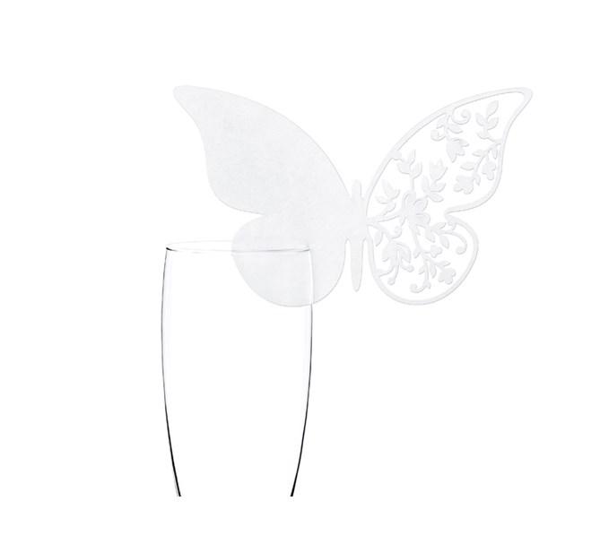 Placeringskort till glas Fjäril spets, 10 st