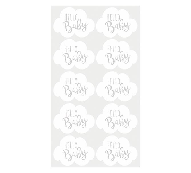 "Klistermärken Babyshower ""Hello Baby"", 10-pack"