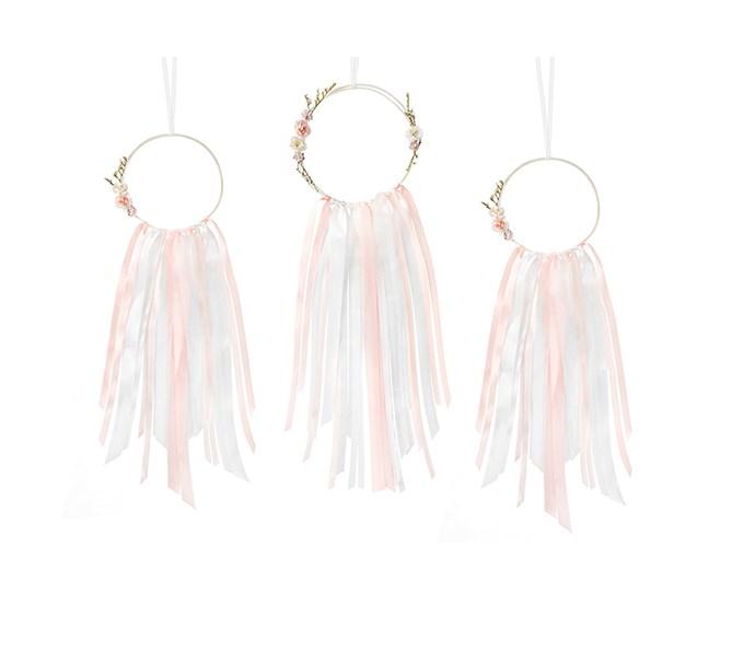Drömfångare rosa/vit, 3-pack