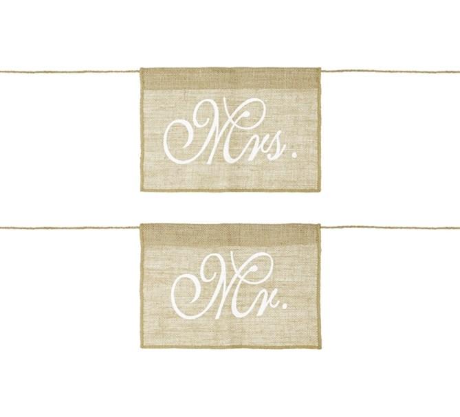 Stolsdekoration rustik Mr & Mrs