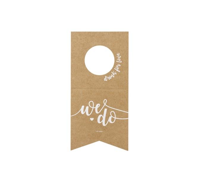 """Flaskdekoration """"We do"""" natur/vit, 10-pack"""
