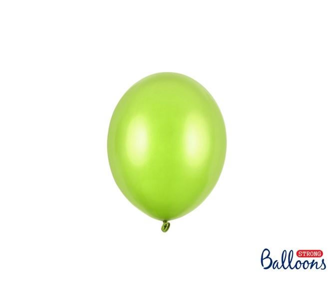 Miniballong Limegrön metallic 12 cm, 10-pack