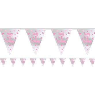 "Vimpel ""Happy 1st Birthday"" rosa/silver"
