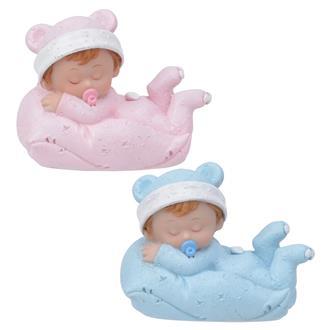 Tårtdekoration Liggande Baby På Kudde Blå