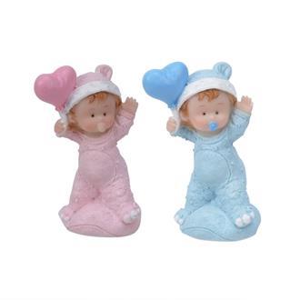 Tårtdekoration Baby Med Hjärta Blå