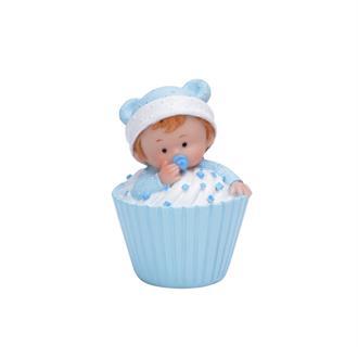 Tårtdekoration Baby i muffins Blå