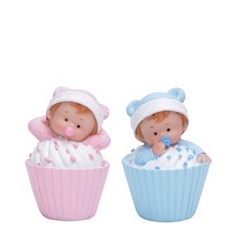 Tårtdekoration Baby i muffiins Rosa