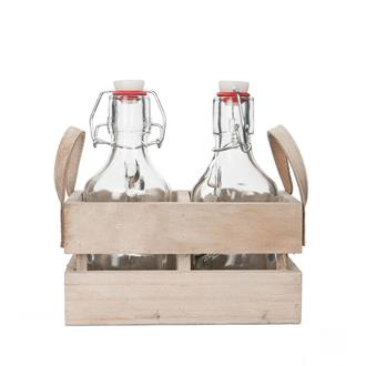 Trälåda med 2 st. glasflaskor