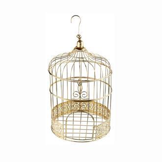 Fågelbur - kortlåda guld