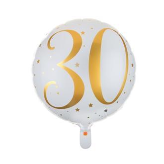 Folieballong 30 år guld/vit