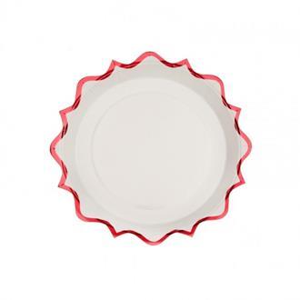 Assiett vit med röd kant, 10-pack