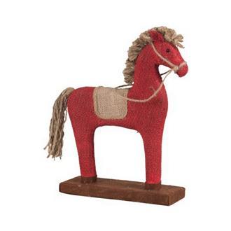 Dekorativ häst i röd jute, 32 cm.