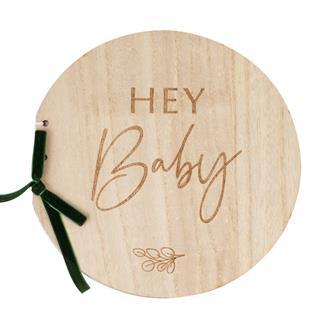Gästbok Hey Baby med träomslag