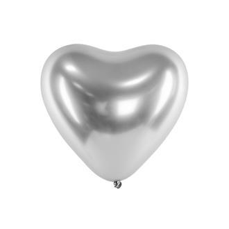 Hjärtformade ballonger silver 10-pack